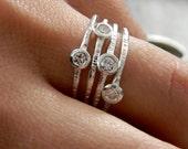 Moissanite Multistone Ring in Silver Band Ring, Gemstone Bezel Ring