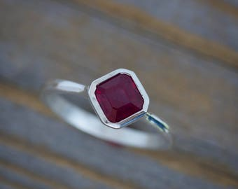 Size 7 1/2  Asscher Ruby Solitaire Ring in Recycled Silver Ring, Green Design, July Birthstone Jewelry Ruby Ring