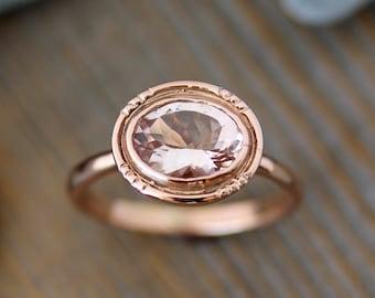 Oval Morganite 14k Rose Gold Engagement Ring, Vintage Halo Ring in Recycled Rose Gold, Oval Handmade Engagement Ring, Vintage Milgrain