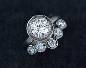 Moissanite Ring in 14k Palladium White Gold, Engagement Ring Set, Wedding Set, Halo Ring
