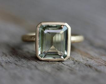 Emerald Cut Green Amethyst Ring, Prasiolite Ring in Recycled Yellow Gold, Octagon Prasiolite Gemstone Ring, Amethyst Jewellery