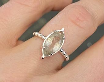 Rutile Quartz and Vintage Sterling Silver Milgrain Band Ring, Diamond Shape Stone Ring, Handmade Marquise Gemstone Prong Setting