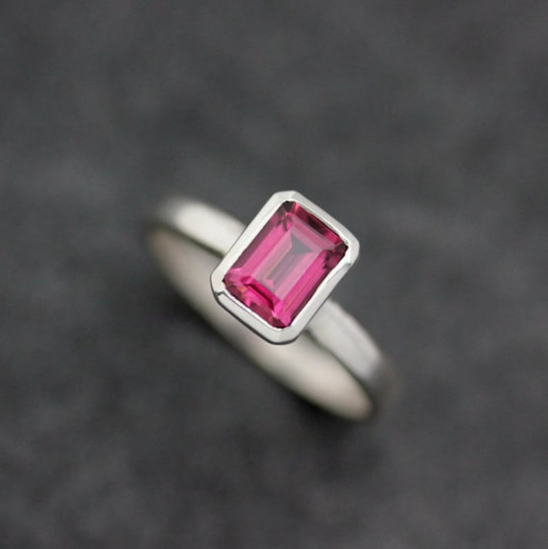Emerald Cut Gemstone Ring Rhodolite Garnet Ring Garnet image 0