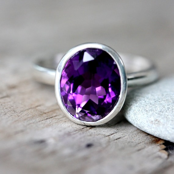 Beautiful Two Stone Ring-Amethyst Ring-Grown Purple Ring-925 Sterling Silver Ring-Handmade Jewelry-February Birthstone Ring-Unique Gift Girl
