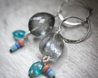 Tourmaline Quartz Earrings with Apatite and Handmade Glass Dangles, Hoop Earring, Dangle Gemstone and Silver Earrings