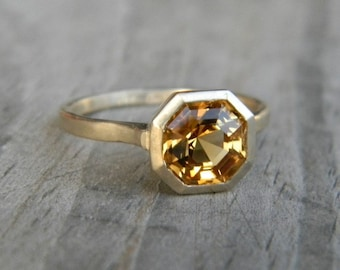 Citrine Gemstone Bezel Ring in Asscher Cut 14k yellow Gold