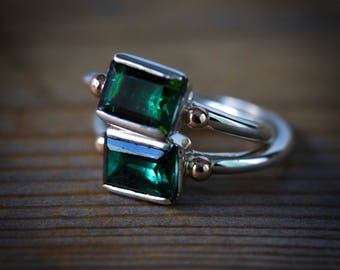 Green Tourmaline Ring, Emerald Cut Gemstone in Recycled Silver and Rose Gold Ring, Personalized October Birthstone