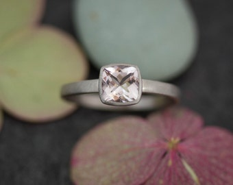 Cushion Morganite Gemstone Ring, Pink Morganite Jewelry  for Women, Rose Gold Engagement Ring, Promise Ring for Her, Size 6.5