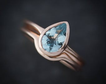 Aquamarine Pear Rose Gold Engagement Ring and Wedding Band Wedding Set, 14k Pink Gold Pear Solitaire and  Eco Friendly Band Set