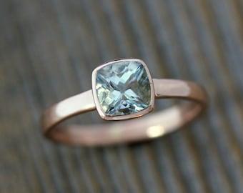 Handmade Blue Aquamarine and 14k Rose Gold Ring, Aquamarine Cushion Cut Solitaire, Diamond Alternative Engagement, March Birthstone