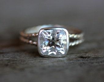 Cushion White Topaz Ring, Clear Stone Split Shank, Silver Rope Band Ring, Rapunzel Ring, Bezel Set Topaz Gemstone Ring, Cushion Cut Ring