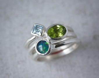 Australian Opal Stacking Ring Set, Oval Peridot Stacking Ring, Princess Cut Blue Topaz Ring, Gemstone Stacking Ring Set, Princess and Round