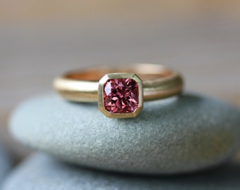 Pink Spinel Asscher Ring in 14k Yellow Gold, Flanders or Asscher cut Gemstone Ring in  Eco Friendly Recycled Gold