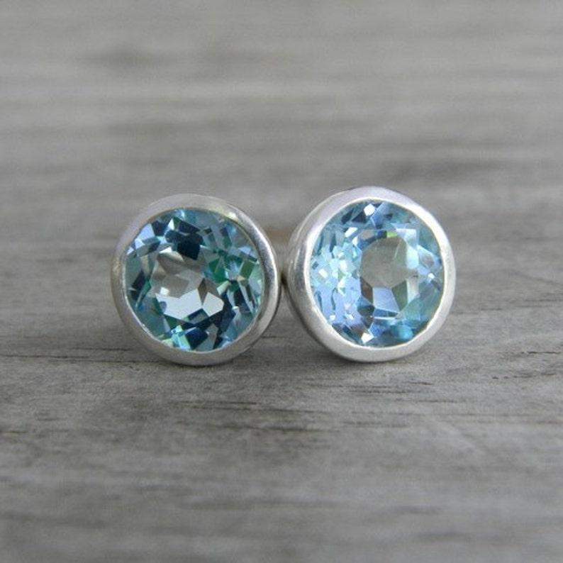 Gemstone Earrings Blue Gem Earrings Big Stud Earrings for Her Blue Topaz Stud  Earrings in Silver Bezel Posts Large Post earrings