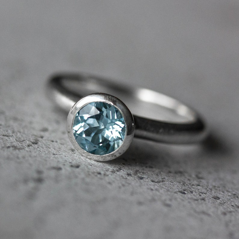 Sky Blue Topaz  Ring Solitaire Gemstone Ring to Wear alone or in Stacking Ring Set Ready To Ship in Size 5