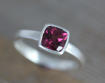 Rhodolite Garnet Cushion Shaped Solitaire Ring, Matte Sterling Silver // Size 6 Ready To Ship
