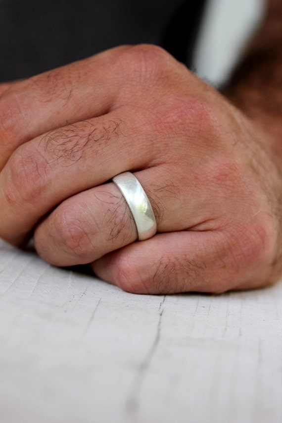 Sterling Silver Wedding Bands.Sterling Silver Wedding Band Mens Band In Brushed Silver And Made To Order