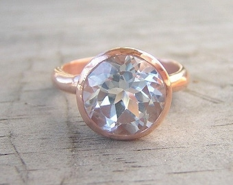 Huge White Topaz Engagement Ring, Non Diamond White Stone Ring in Eco 14k Rose Gold Statement Brished Finish Engagement Ring