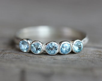 Aquamarine Anniversary Band Ring, Sterling Silver Ring, 5 stone Design in Recycled Sterling and March Birthstone, READY To Ship Size 7