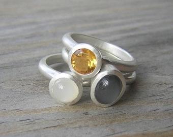 Moonstone Stacking Ring Set, Gray Moonstone and White Moonstone Rings with Golden Citrine  Nesting Rings