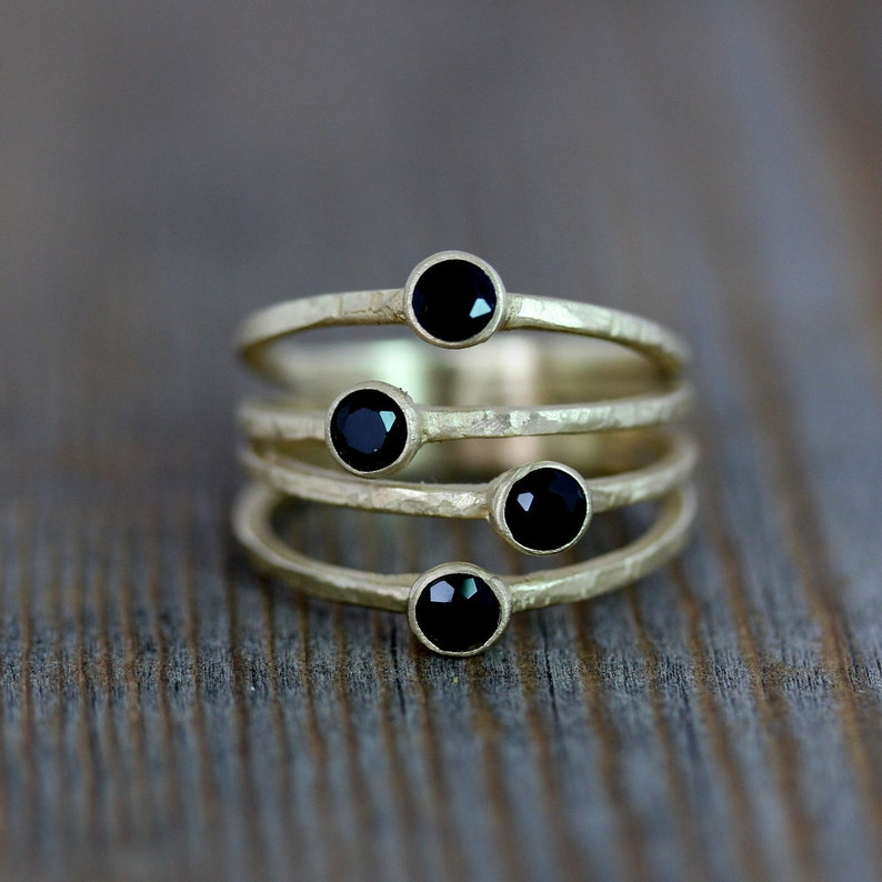 14k Yellow Gold Ring Multi Stone Ring in Black Spinel and image 0
