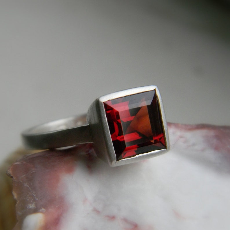 Garnet  Ring Princess Cut Ring  in Solitaire Setting image 0