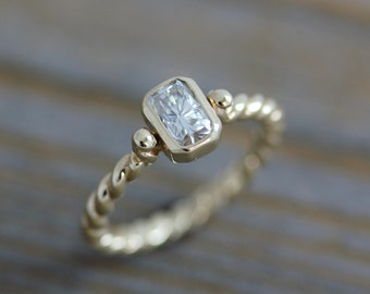 Moissanite Engagement Ring, A Diamond Alternative in Recycled 14k Yellow Gold