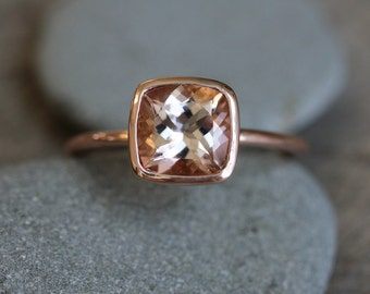 Morganite Ring in 14k Rose Gold Ring, Cushion Cut  and Highly Polished