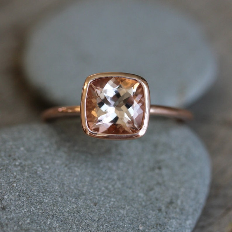 Morganite Ring in 14k Rose Gold Ring Cushion Cut  and Highly image 0