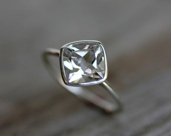 Cushion Shaped White Topaz Ring,Solitaire Bezel Engagement Ring, Recycle Silver Ring, Square Cushion Gemstone Rings, Diamond Alternative