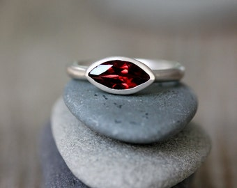 Size 7 Red Garnet Ring, Stackable Birthstone Ring, Sterling Stacking Ring, Marquise Shape Silver Band Ring, Gift for Wife