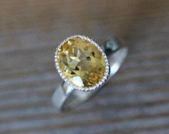 Yellow Citrine Ring,  Silver Bezel Miligrain Ring, November Birthstone Gemstone Rings, Artisan Jewelry Christmas Gifts,