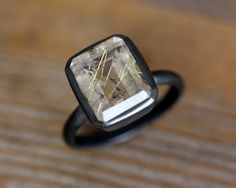 Large Octagon Golden Rutilated Quartz and Blackened Sterling Silver, Emerald Cut 925 Silver Statement Ring, Personalized, Made to Order