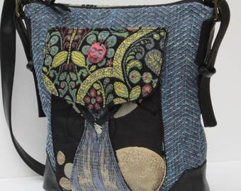 LARGE SHOULDER BAG  by Elizabeth Z Mow  Fabric and Leather Collage Girl of the World