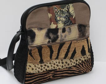 SHOULDER BAG by Elizabeth Z Mow Fabric and Leather While Visions of Fierceness Danced in Her Head