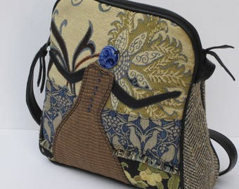 SHOULDER BAG Fabric and Leather Collage The DOVEKEEPER by Elizabeth Z Mow