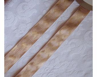 Vintage Blush Pink Satin Ribbon with METALLIC GOLD Art DECO Design