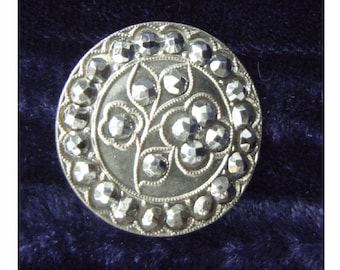 Vintage FRENCH Cut Steel BUTTON - Etched FLOWER Design