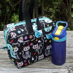 Insulated Lunch Bag Lunch Box Cooler Rectangle Skelekitty Day of the Dead Damask Made To Order
