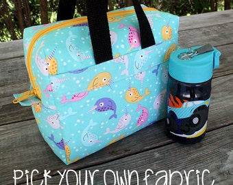 Insulated Lunch Bag Lunch Box Cooler Rectangle CUSTOM Pick Your Own Fabric
