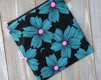 Sandwich Bag Reusable Teal and Hot Pink Flowers Ready to Ship