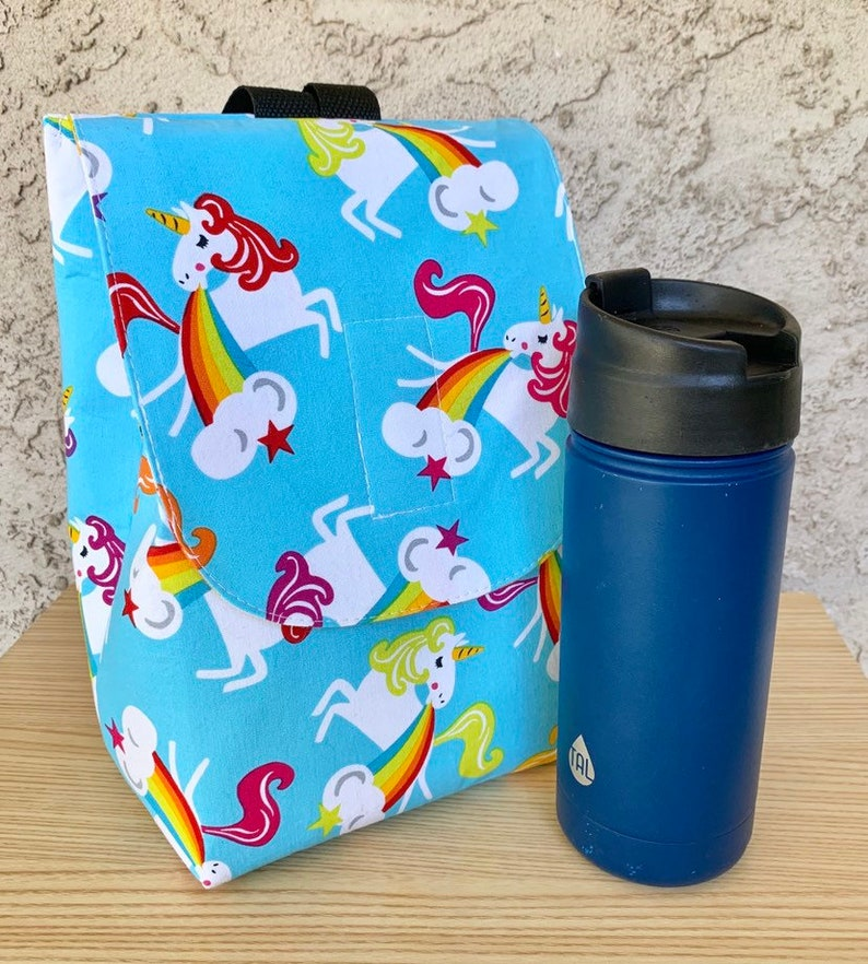 Insulated Lunch Bag Lunch Tote Unicorns and Rainbows Ready to image 0