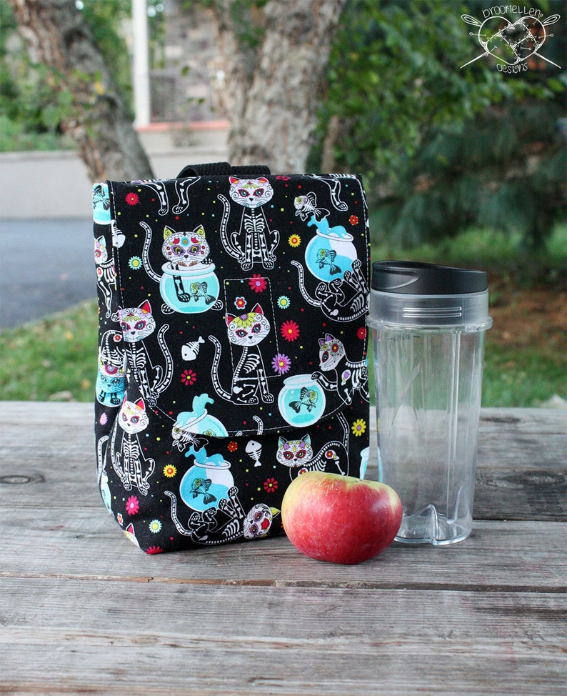 Insulated Lunch Bag Lunch Tote Skelekitty Made To Order image 0