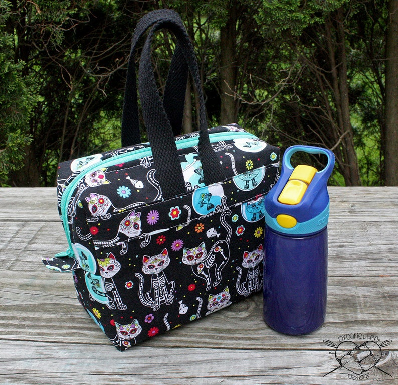 Insulated Lunch Bag Lunch Box Cooler Rectangle Skelekitty Day image 0