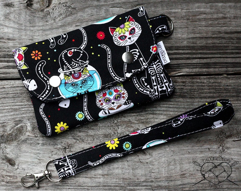 Wallet Wristlet Clutch SMALL Skelekitty Made To Order image 0