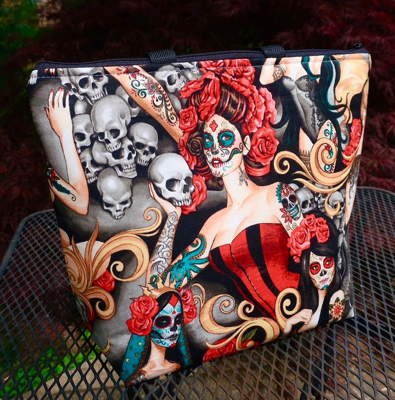 Insulated Lunch Bag XL Dia de los Muertos Ready to Ship image 0