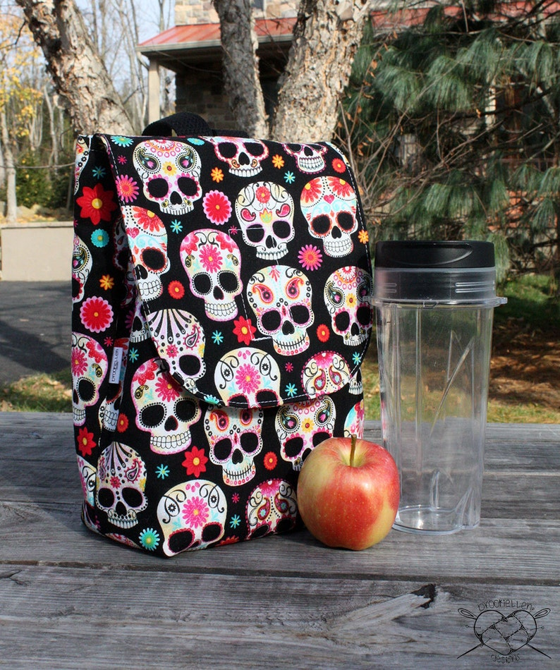 Floral Skulls Lunch Bag Insulated Reusable Lunch Box made to image 0