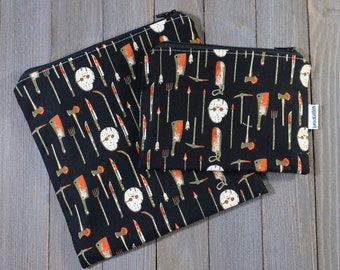 Reusable Sandwich Bag and Snack Bag Set of 2 Jason Voorhees Friday the 13th Ready To Ship