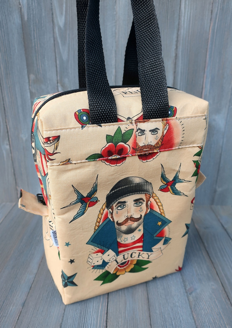 Insulated Lunch Bag Lunch Box Cooler Rectangle Tattooed Boys image 0