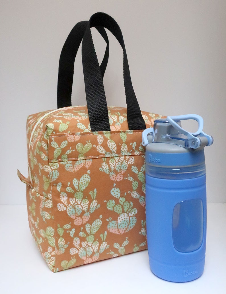 Insulated Lunch Bag Lunch Box Cooler Square Succulents Made To image 0